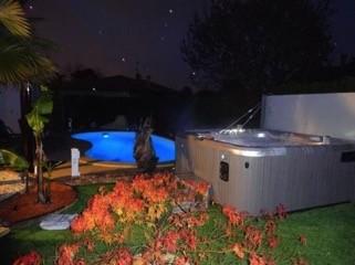 Hot Spring Spa at night in backyard